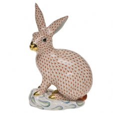 Herend Porcelain Fishnet Figurine of a Large Rabbit
